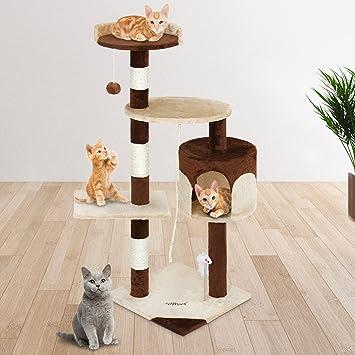 Leopet gato árbol rascador 40/40/112 cm centro de actividad rascador gato juguete accesorios Playing escalada con 3 plataformas y cueva (Beige) de sisal ...