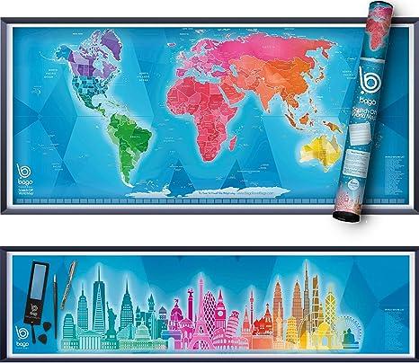 Large World Map Amazon.Amazon Com Scratch Off Map Of The World Skyline Art World Map