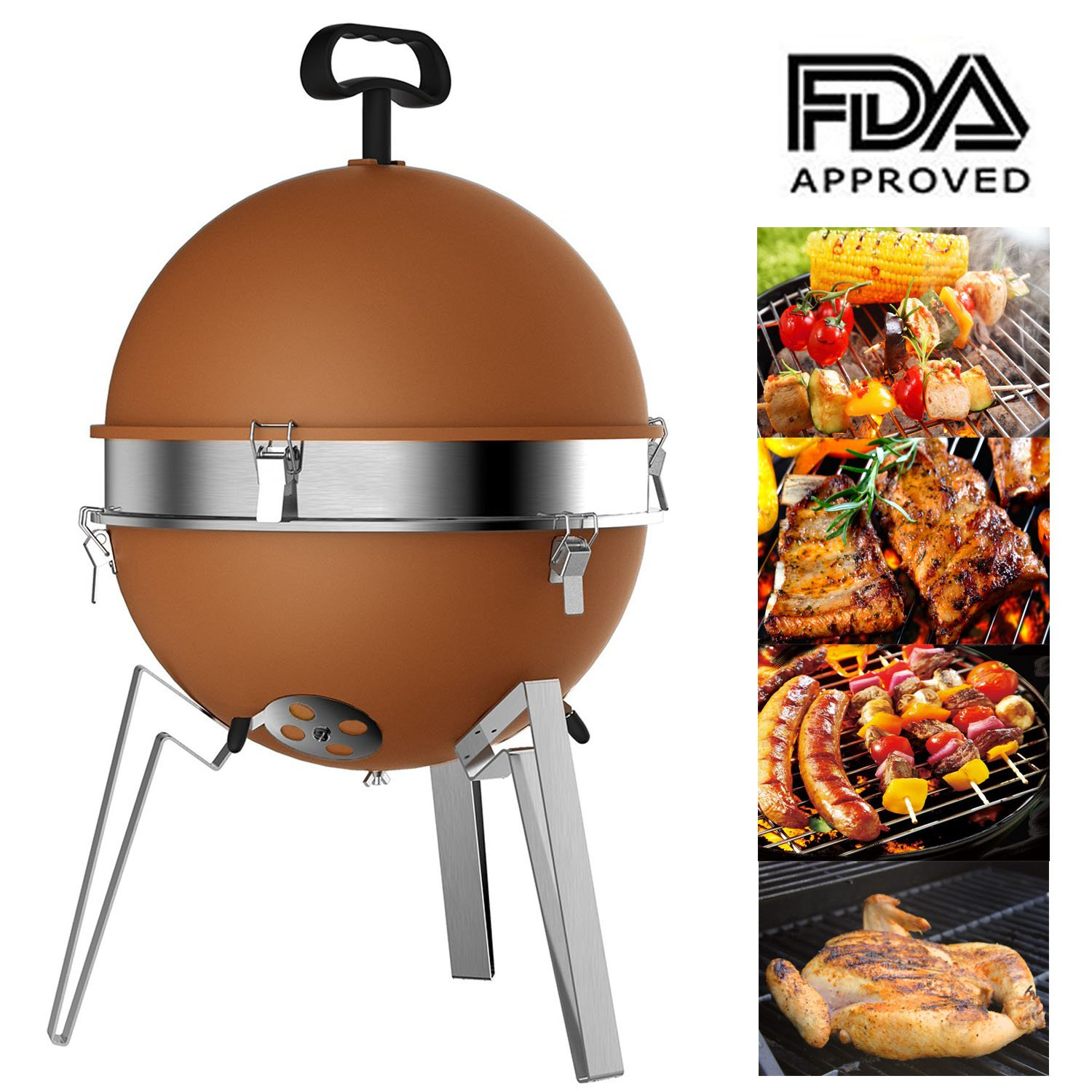 Mangotree Charcoal Grill Portable BBQ 12.40in Removable Barbecue Lightweight Barbecue with Stainless Steel Grate for Patio Garden Lawn Party Beach Camping Backyard Cooking Outdoor Barbecue Tool Brown
