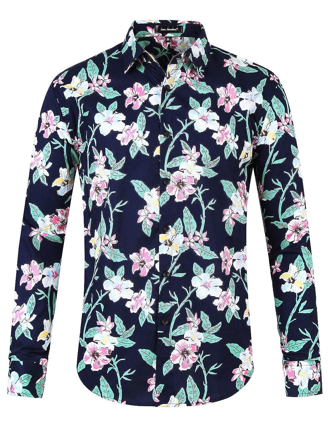 Lars Amadeus Men Floral Button Down Long Sleeve Aloha Hawaiian Palm Flower Printed Shirt