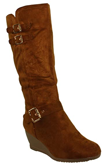 Women's Monicay-2 Faux Suede Round Toe Buckled Wedge Heel Mid-Calf Boots