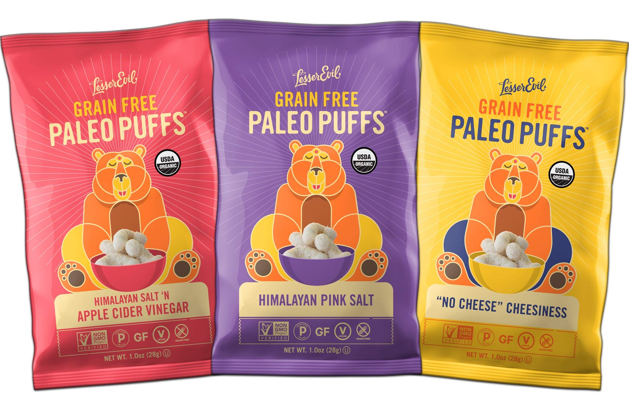 LesserEvil Organic Paleo Puffs Variety Sampler, 1oz Bags (18 Count)