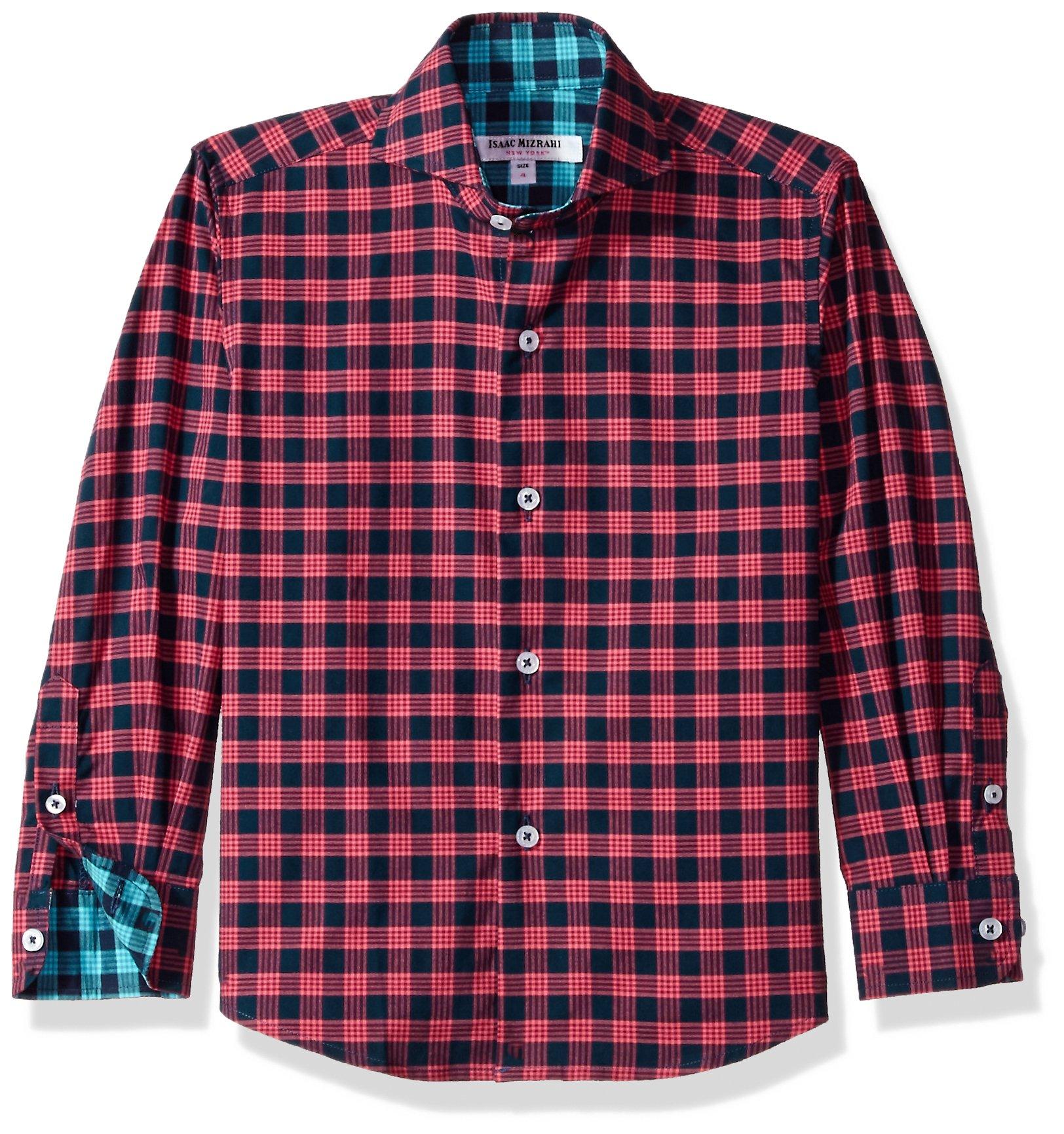 Isaac Mizrahi Big Boys' Cotton Multi Plaid Button Down, Red/Navy, 18/20