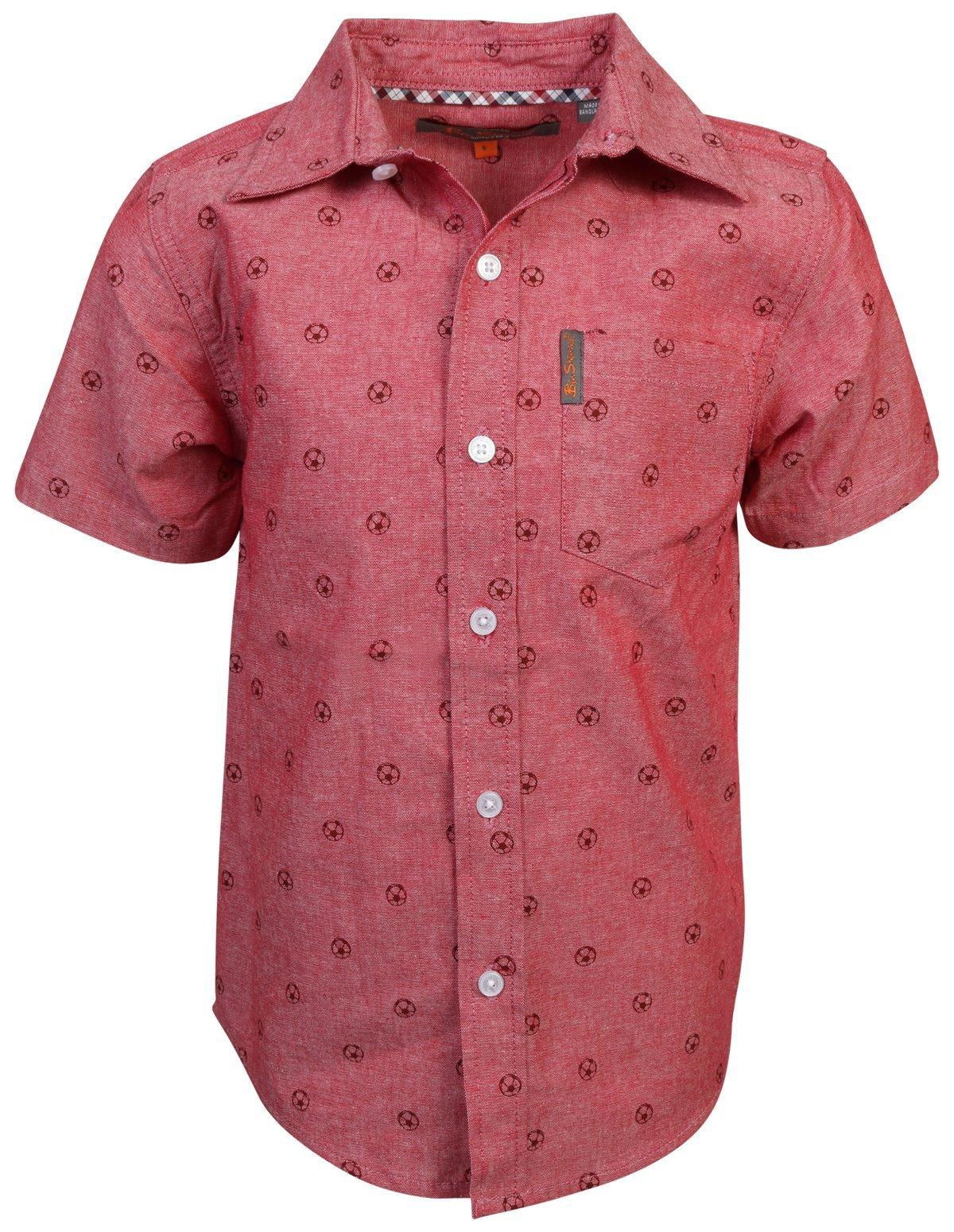 Ben Sherman Boys Short Sleeve Button Down Shirt (Coral Soccer Ball, 4)