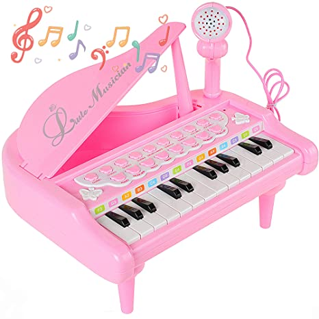 Toys & Hobbies Toy Musical Instrument Hearty Childrens Musical Instruments Childrens 37-key Plug-in Microphone With Microphone Multi-function Music Piano Toy Early Child High Quality Goods