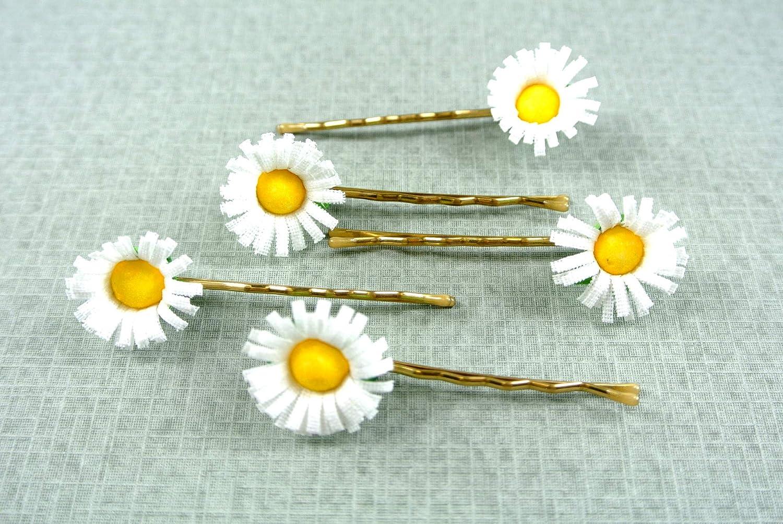 clarigo, Haarnadeln, Haarklammern, Haarklemmen, Gänseblümchen, Hochzeit, Kommunion, Blumen, Blume Gänseblümchen