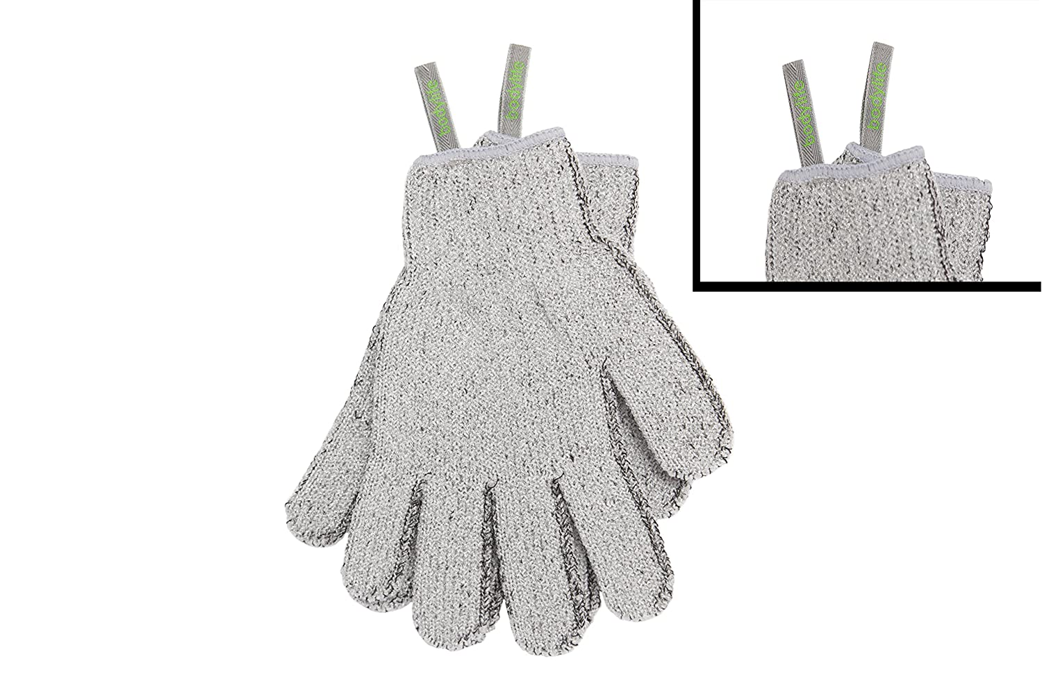 Bodylife Grey Carbonized Bamboo Exfoliating Gloves With Hanging Strap