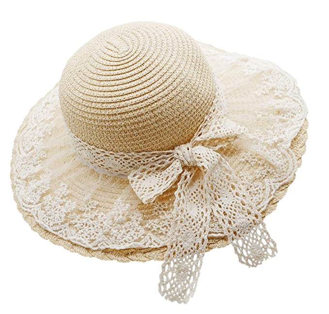 08f24c13 Bienvenu Little Girl Kids Summer Straw Hat Wide Brim Floppy Beach Sun Visor  Hat,Beige