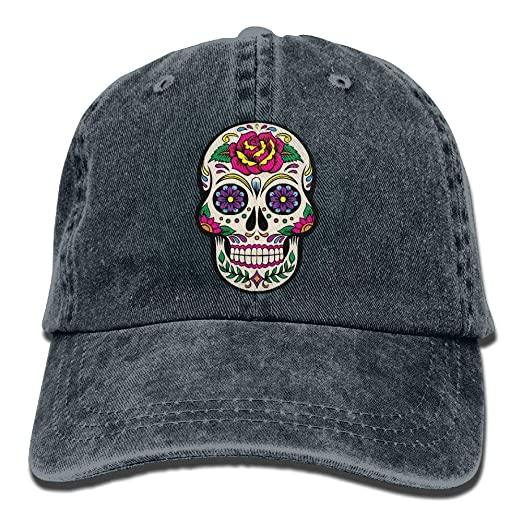 Retro Giant Sugar Skulls Jeans Baseball Caps Summer Fishing Dad ... ab2c64a2fb1