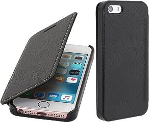 StilGut Book Type sans clip, housse en cuir pour Apple iPhone 5, 5s & iPhone SE, en noir