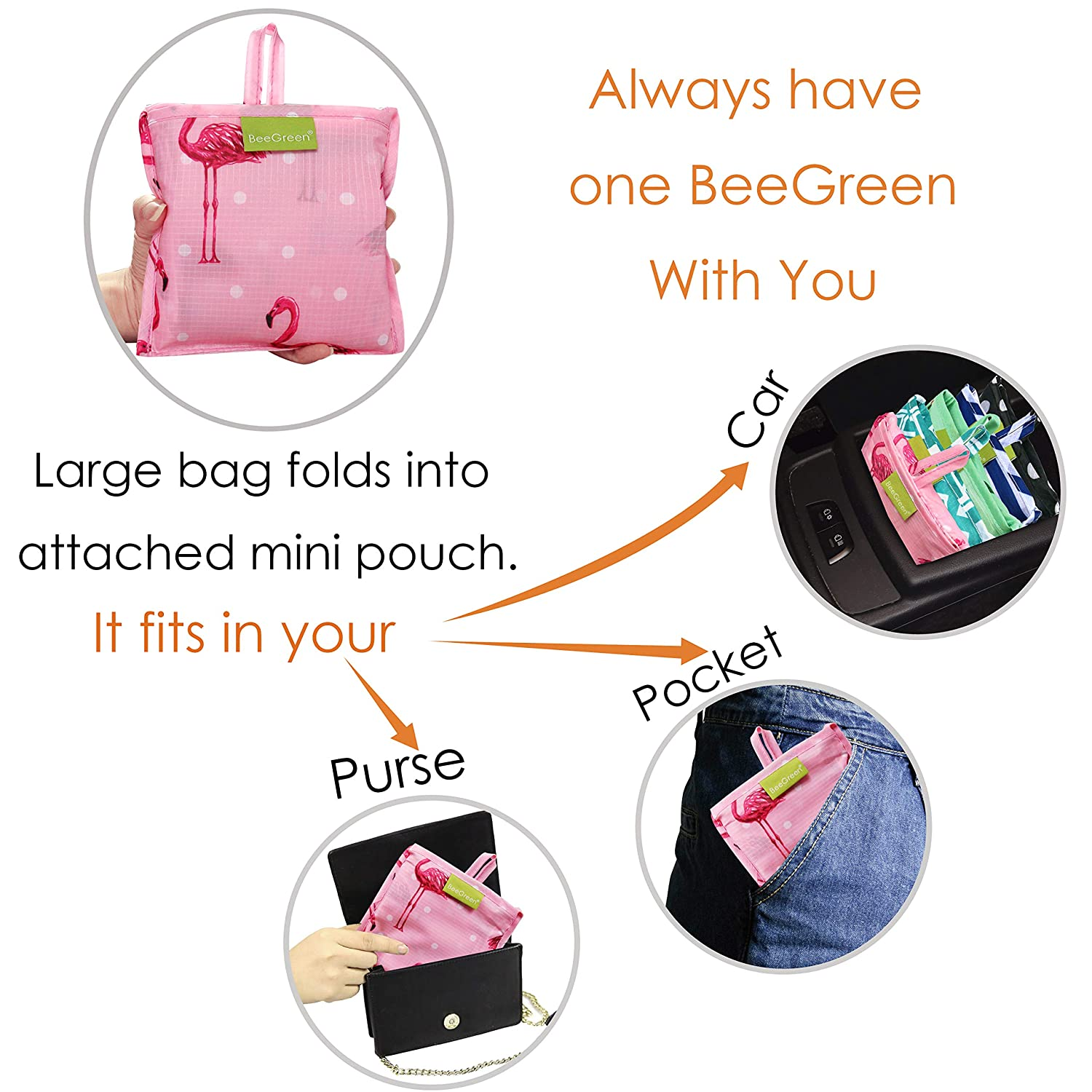 ab13ed210 Folding Shopping Tote Bag Fits in Pocket BeeGreenBags VF07 Foldable  Reusable Grocery Bags Cute Designs 4 ...