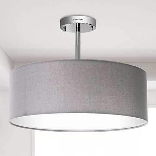 Modern Ceiling Light, 18 Classic 3-Light Drum Pendant Chandelier, Grey Drum Shade, Round Frosted Acrylic Diffuser, Lamps for Living Room