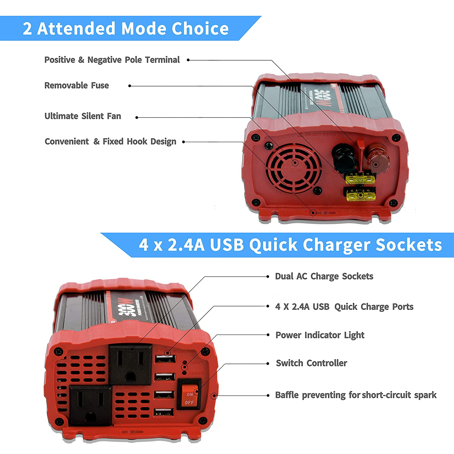 BYGD 300W Car Power Inverter DC 12V to 110V AC Converter 2 Outlets with 4 x 3.1A USB Ports
