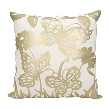 Amazon Product Of Gold Butterfly Garden 40 X 40 Decorative Magnificent Nourison Decorative Pillows