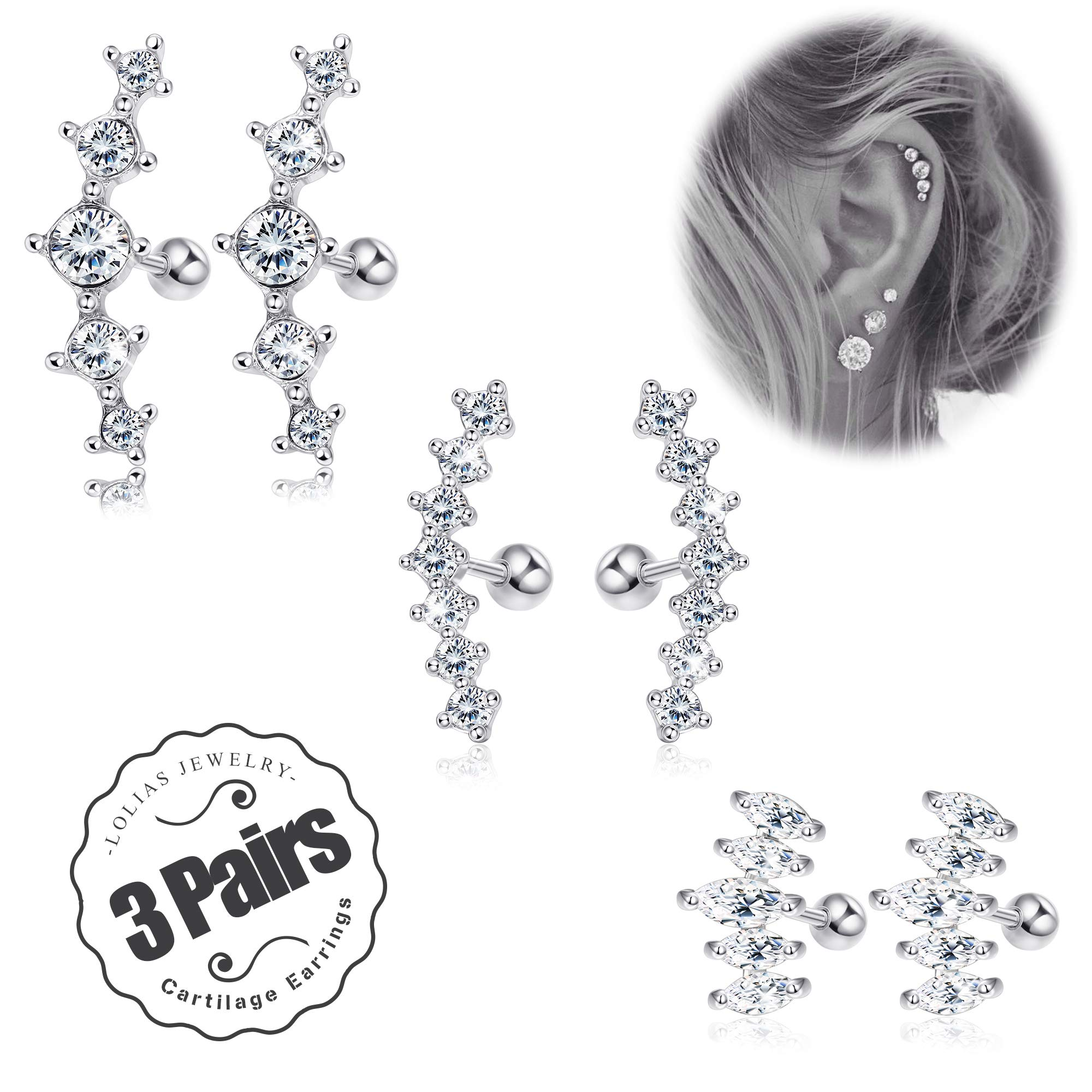 LOLIAS 3Pairs 16G Cartilage Stud Earrings Women Girls Conch Helix Piercing Jewelry Set