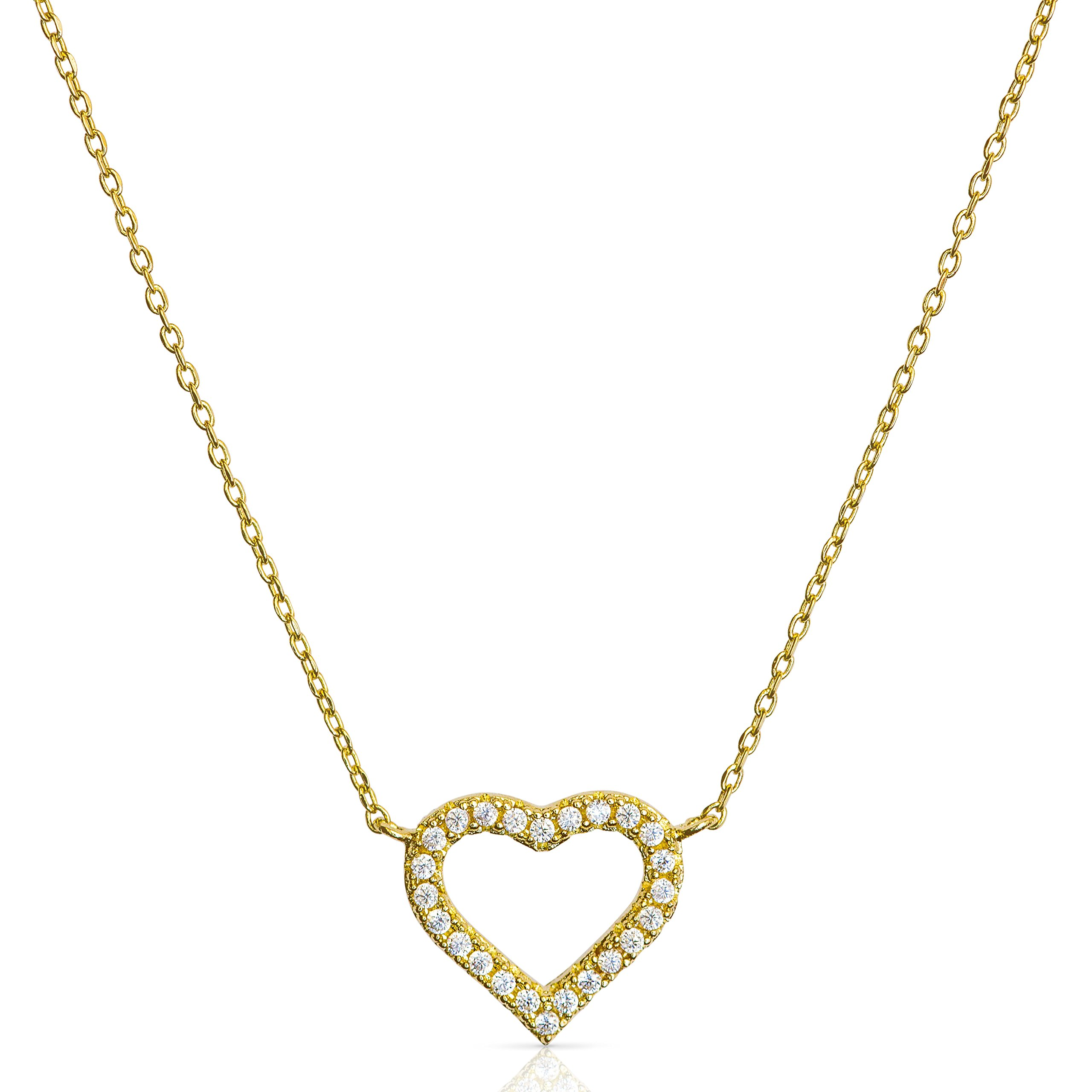 Benevolence LA Gold Necklace Heart Drop Y Vertical Bar: 14k Gold Diamond Shaped Open Circle Cubic Zirconia Looped Long Chain Necklaces for Women Designed by Candace Cameron Bure (Heart)