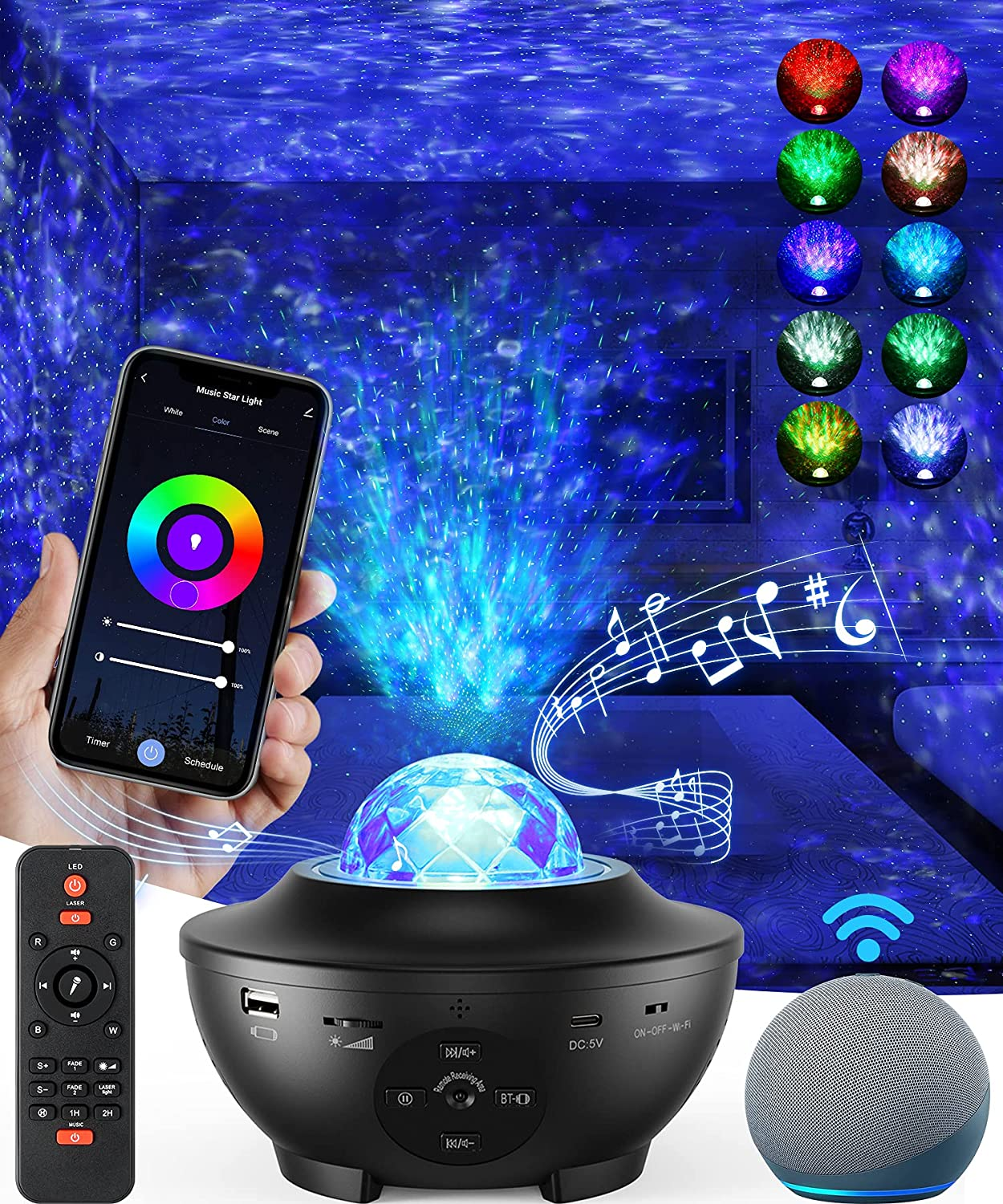 Star Projector Galaxy Projector, Sky Night Light for Bedroom, Room Decor for Kids and Adults, 8 in 1 Smart WiFi Music Star Lights with Remote Control, Work with Alexa, Google Assistant