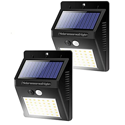 Solar Lights Outdoors 42 LED/3 Modes, Security Motion Sensor Night Lights, Wire-Free, IP65 Waterproof, Solar LED Light for Garden, Fence, Patio, Garage and Stairs (2 Pack)