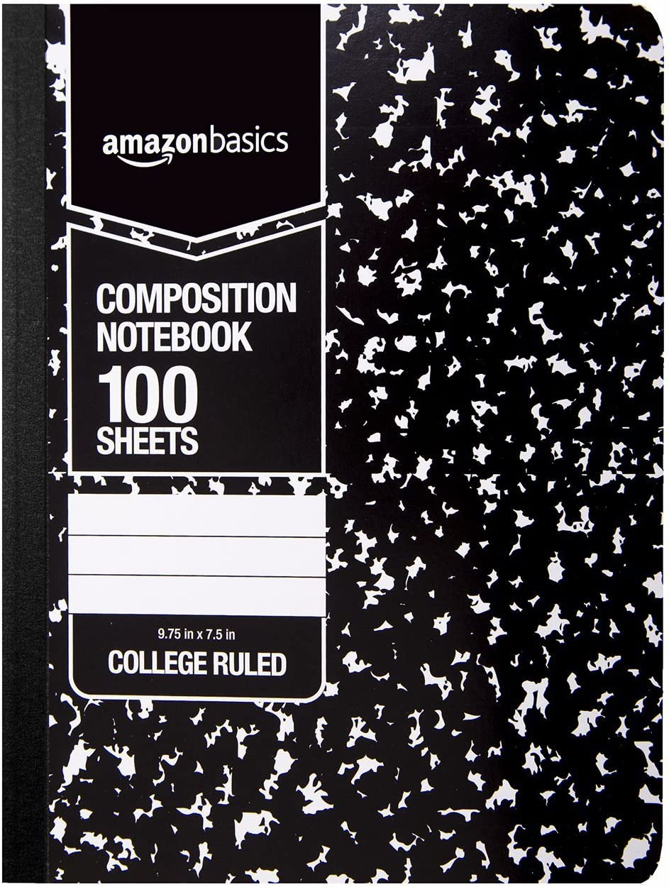 AmazonBasics College Ruled Composition Notebook, 100 Sheet, Marble Black, 12-Pack