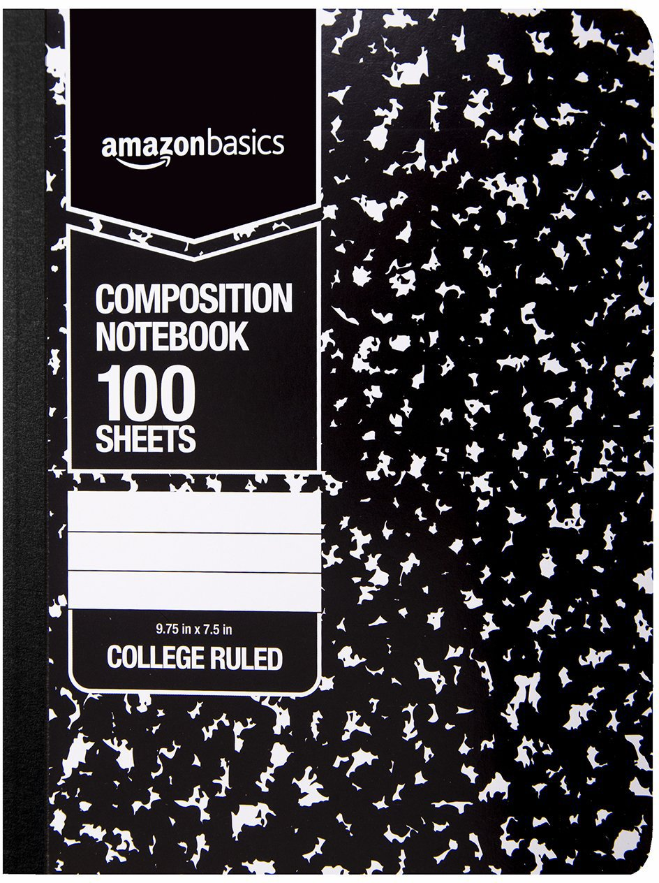 AmazonBasics College Ruled Composition Notebook, 100 Sheet, Marble Black, 36-Pack