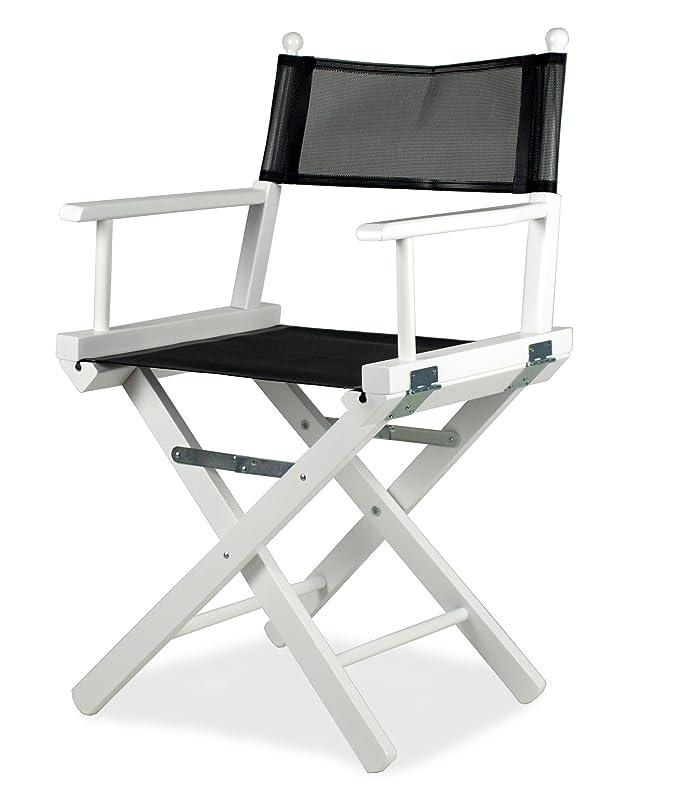 ArredaSì Director – Silla Plegable Madera Lacado en Blanco y PVC Negro – Director P