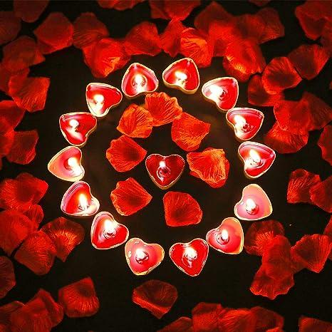 23593c97d0 50 Piezas de Vela en Forma de Corazón Velas de Luz de Té Románticas y 200  Piezas de Pétalos de Rosa ...