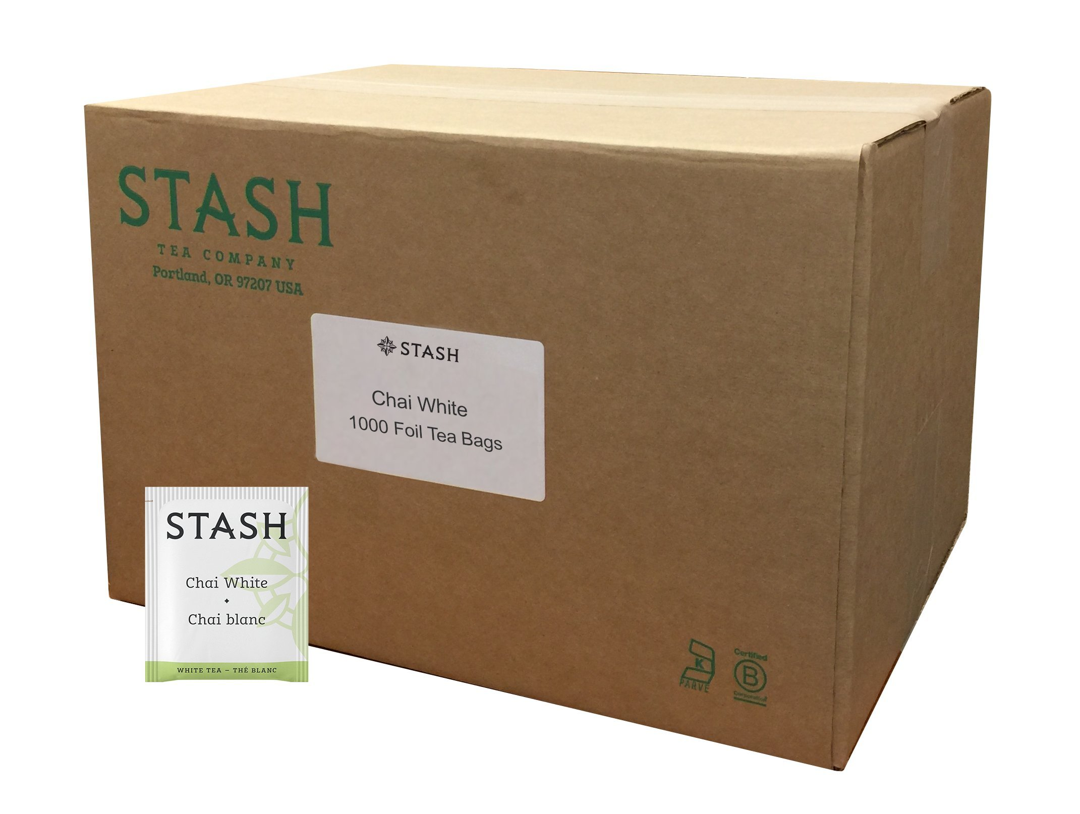 Stash Tea White Chai Tea 1000 Count Tea Bags in Foil Individual Spiced White Tea Bags for Use in Teapots Mugs or Cups, Brew Hot Tea or Iced Tea