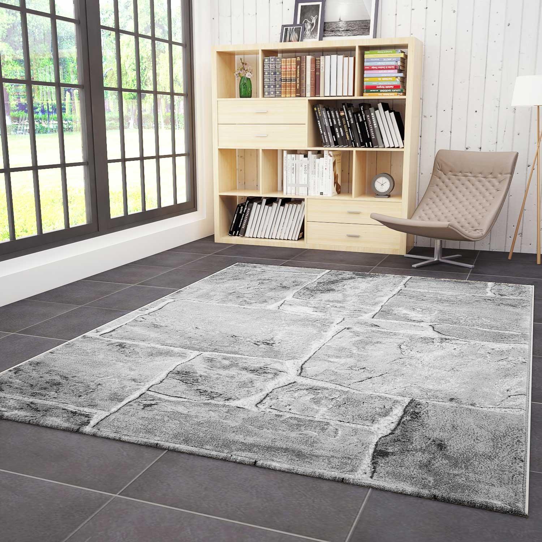 VIMODA Klassischer Wohnzimmer Teppich, sehr dicht gewebt, Stein Mauer Optik in Grau - Top Qualität, Maße: 200x290cm