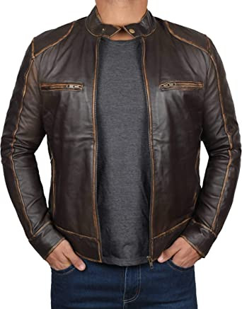 Brown Leather Jacket Men Real Distressed Lambskin Leather Jackets for Men