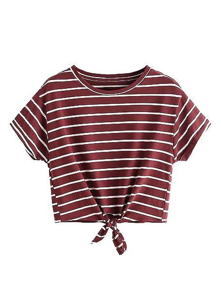 a3e5a45c12567a Romwe Women's Knot Front Cuffed Sleeve Striped Crop Top Tee T-Shirt ,  Burgundy &