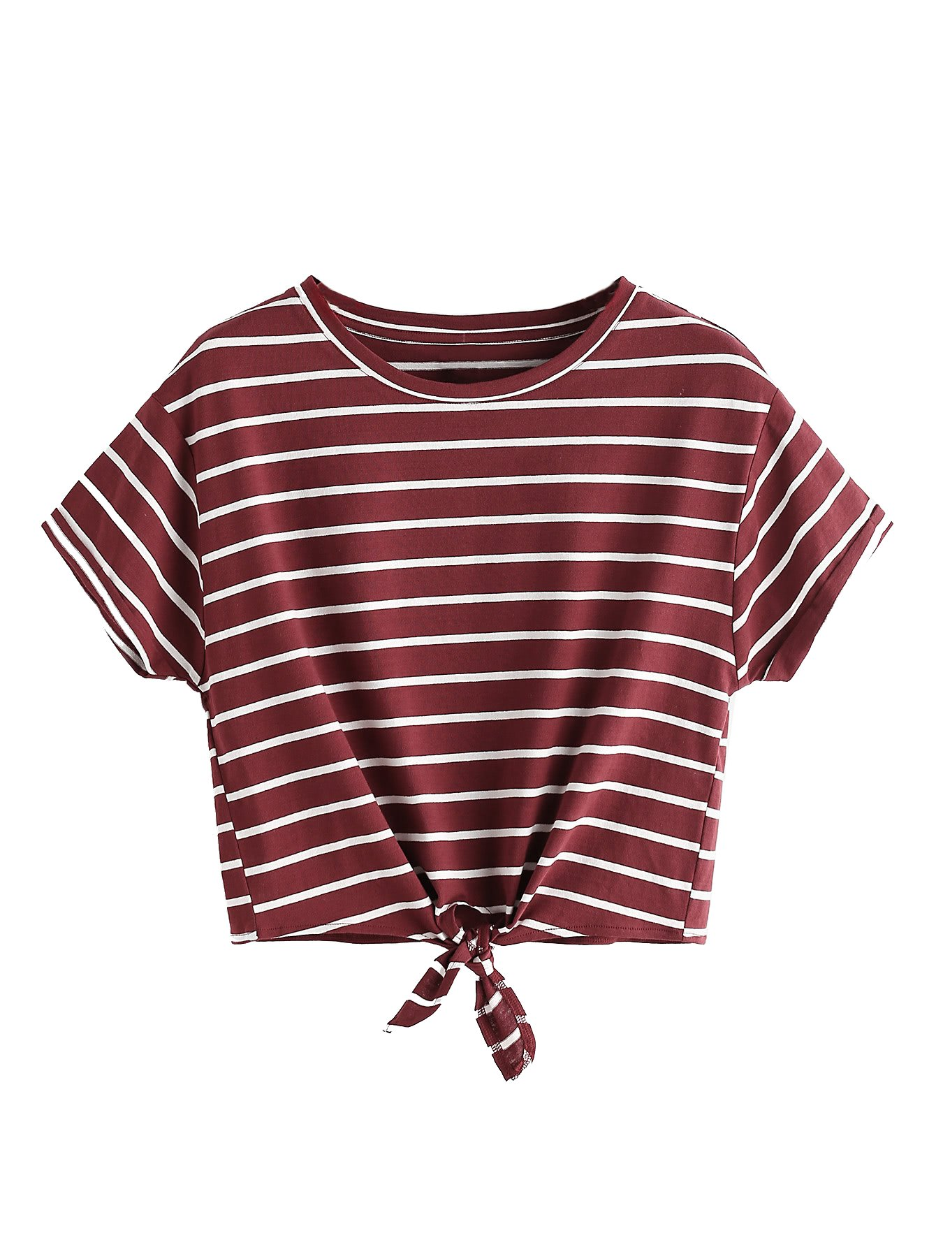 ROMWE Women's Knot Front Long Sleeve Striped Crop Top Tee T-shirt, Burgundy & White, Medium / US 4-6