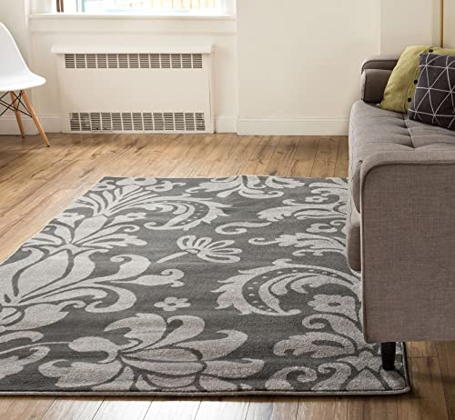 Vavu Damask Light Grey Charcoal Floral Modern Area Rug 3×5 3 3 x 4 7 Modern Oriental Classic Soft Pile Contemporary Carpet Thick Plush Stain Fade Resistant Easy Clean Bedroom Living Dining Room