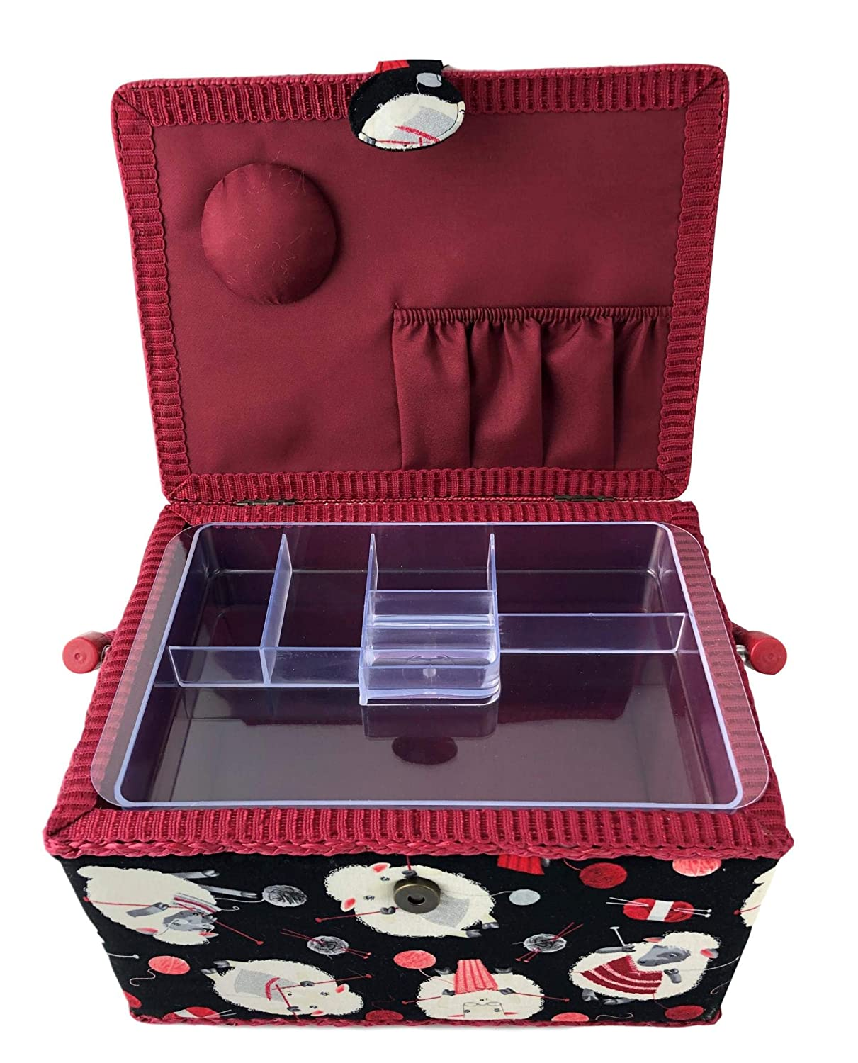 Dritz St Jane Sewing Basket Rectangle Sewing Box Sheep 11.5 x 8.75 x 7.5 inches