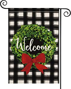 AVOIN Christmas Boxwood Wreath Red Bow Garden Flag Vertical Double Sided, Watercolor Buffalo Plaid Farmhouse Flag Yard Outdoor Decoration 12.5 x 18 Inch