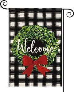 AVOIN Christmas Boxwood Wreath Red Bow Garden Flag Vertical Double Sided, Watercolor Buffalo Plaid Farmhouse Flag Yard Outdoor Decoration 12.5 x 18 Inch