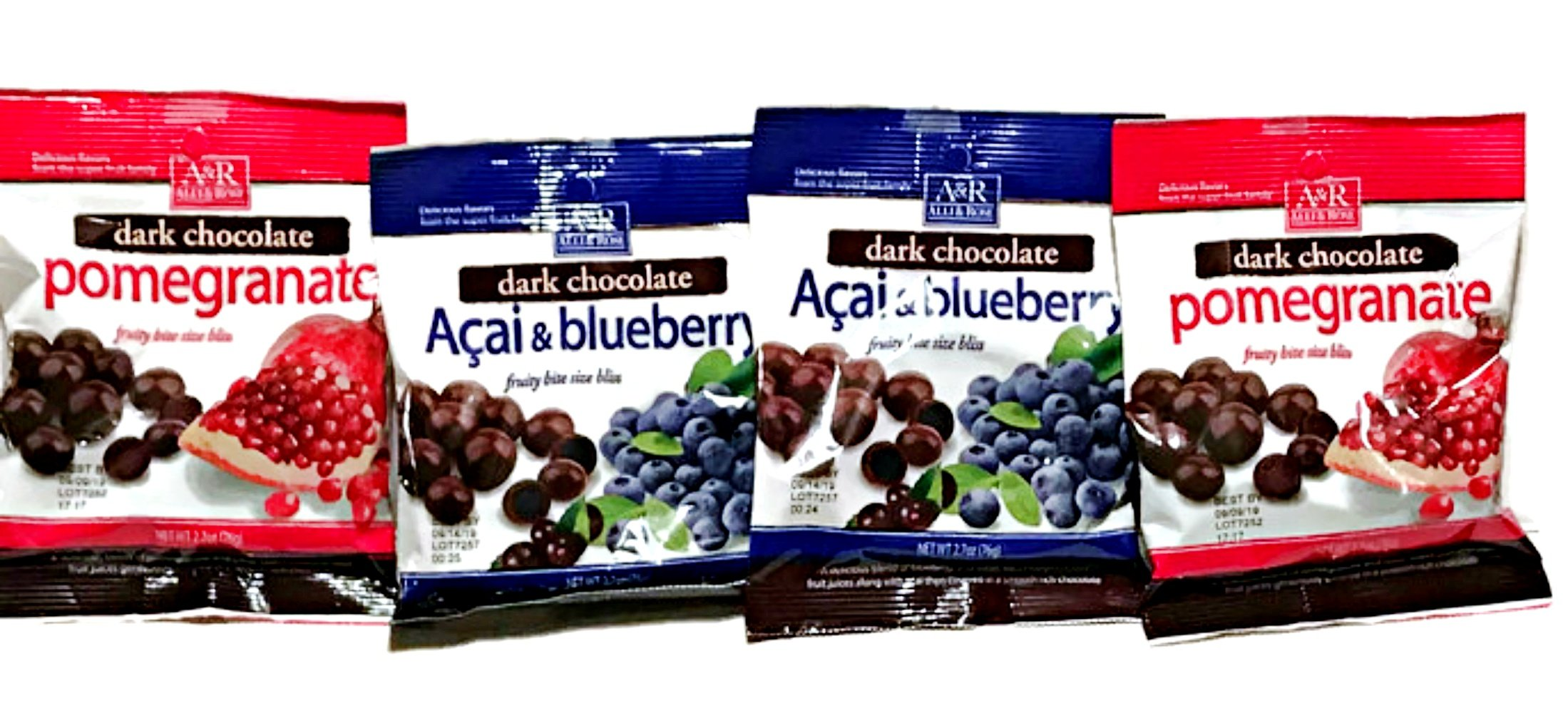 Dark Chocolate Acai Blueberry & Pomegranate Fruity Bite Size - 4 Bags