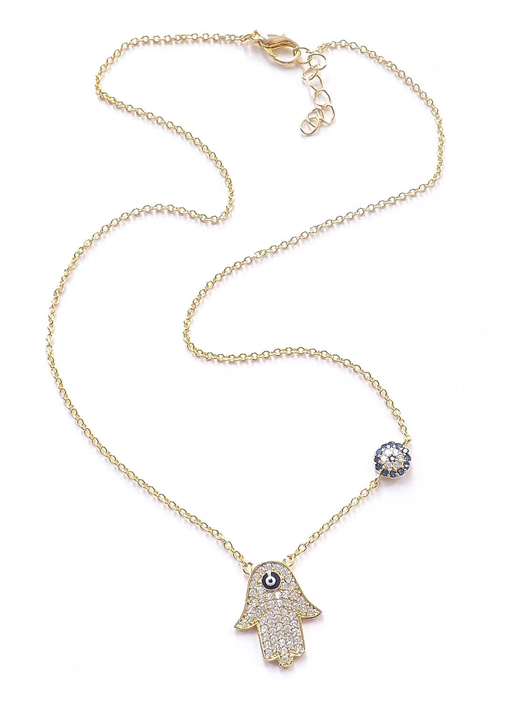 e272da0db Necklace with Pendant Hamsa Hand of Fatima Evil Eye Turkish Nazar Boncuk -  Gold Colour: Amazon.co.uk: Jewellery