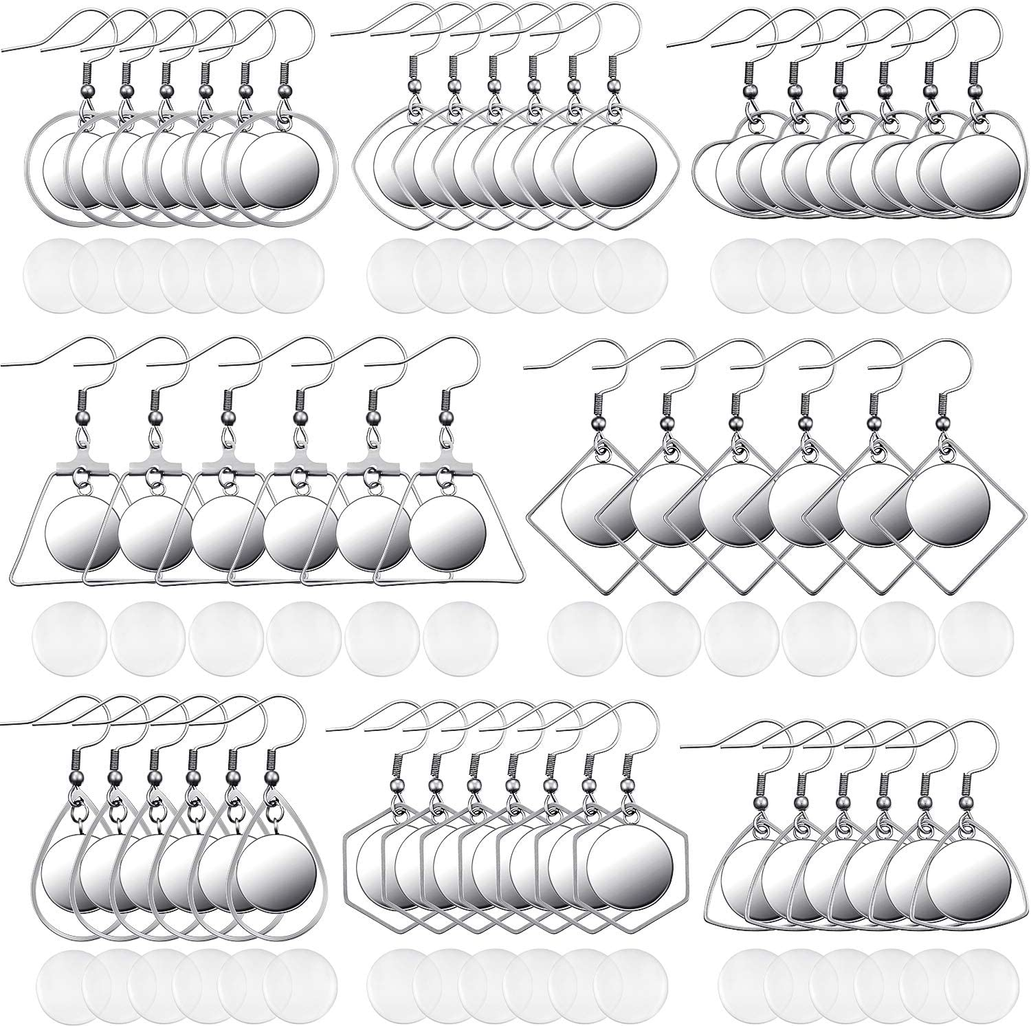108 Pieces Stainless Steel Earring Blanks Wire Hooks Bezel Trays with 12 mm Glass Cabochons Setting for Jewelry Making DIY Craft 81dyL7NDlqL