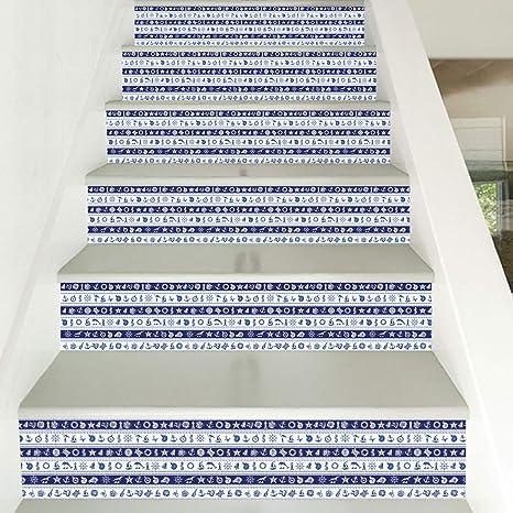 HITOLL Hogar Personalizado DIY Pegatinas de Pared Pegatinas de Escalera a Rayas Azules Escalera Pegatinas de Pared Decorativas PVC Respetuoso con el Medio Ambiente Fácil de Instalar Extraíble: Amazon.es: Hogar
