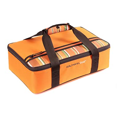Rachael Ray Lasagna Lugger, Insulated Casserole Carrier for Potluck Parties, Picnics, Tailgates - Fits 9 x13  Baking Dish, Orange