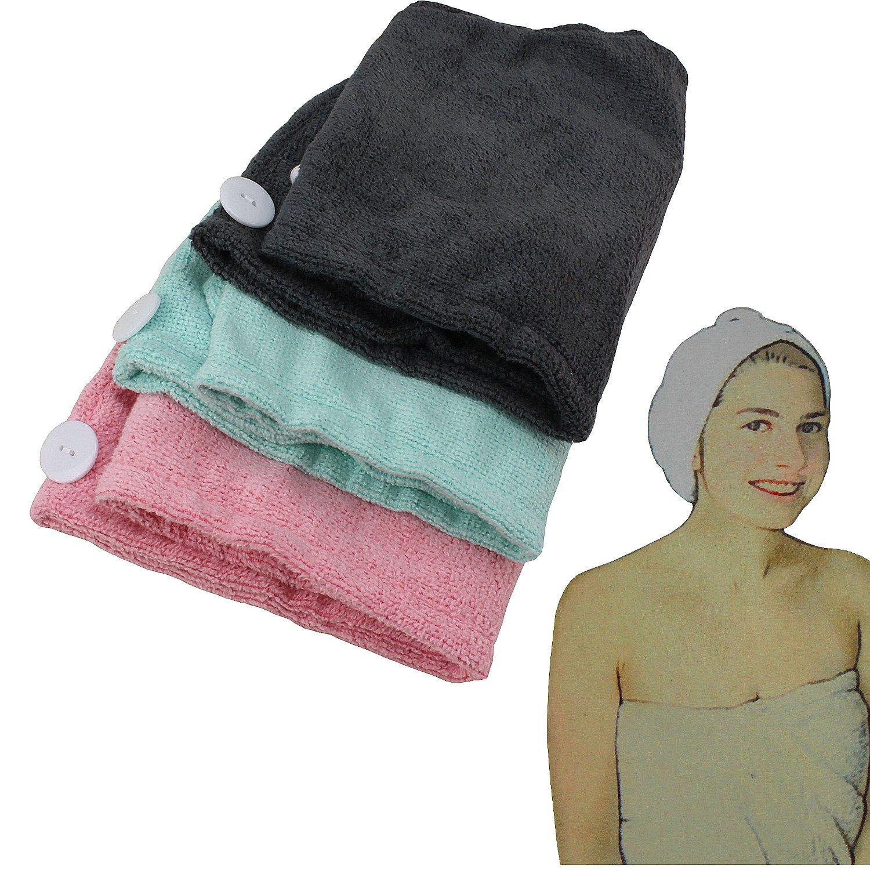Cheveux Turban en microfibre, différentes couleurs (Turquoise, Rose ou anthracite) avec BOUTON, 67x 27cm, cheveux–Chiffon sec, tête de Serviette, pour rapide et douce Séchage des cheveux, stable cheveux-Chiffon sec MACOSA HOME