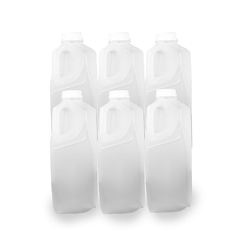 64oz Dairy Plastic Milk Bottles, 6 Pack Plastic Milk Container with 6 Tamper Proof Screw Caps Lids for Milk Tea Cider Restaurant