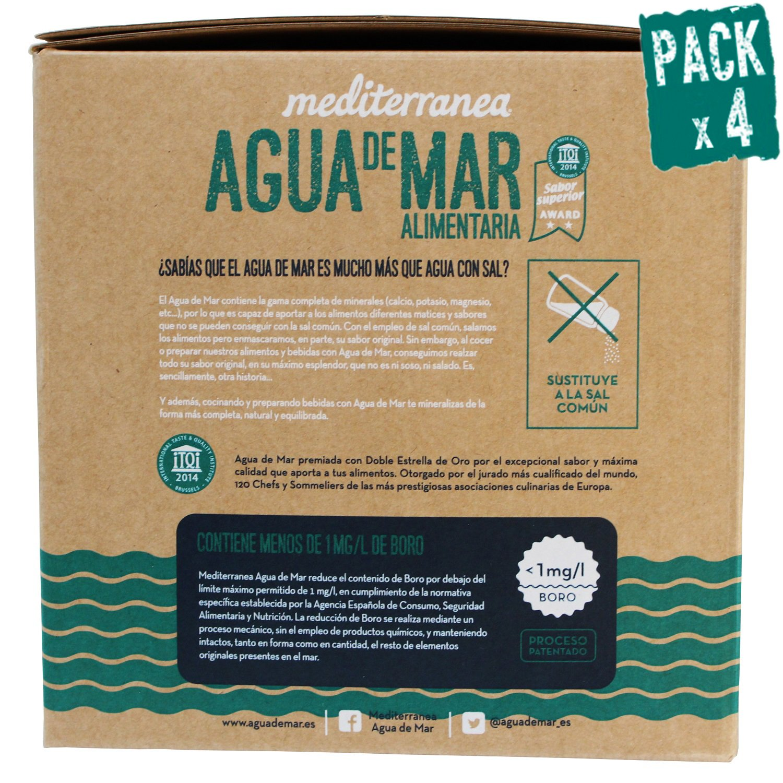 Pack de 4 uds Agua de mar alimentaria Mediterranea, envase eco de 5 Litros, aporta 78 minerales y oligoelementos, realza el sabor original de tus comidas ...