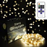 Fairy Lights by CraftDelite, Dimmable Soft White LED Starry String Lights on Copper Wire 10 Meters 33' Remote Control Bright Indoor Outdoor