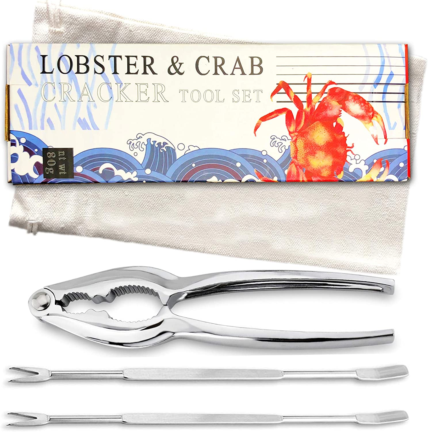 Lobster & Crab Seafood Cracker and Pick Tool Set |10 Pcs Includes 4 Crab Crackers, 2 Handy Canvas Bags & 4 Crab Leg Fork Picks: Kitchen & Dining