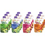 Happy Tot Organic Superfoods Fiber & Protein Stage 4 Baby Food Variety Pack, 4 Flavors (Pack of 12)