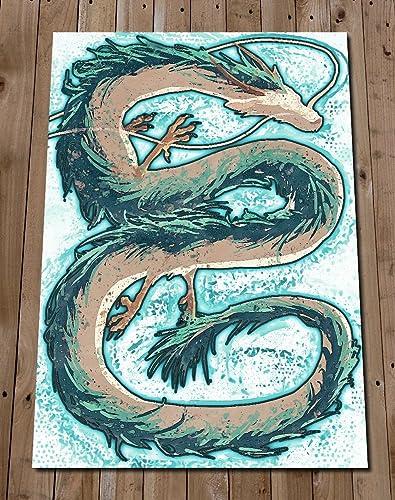 Amazon Com Haku Spirited Away Poster Print Dragon Art Painting Studio Ghibli Wall Art Home Decor Anime Handmade