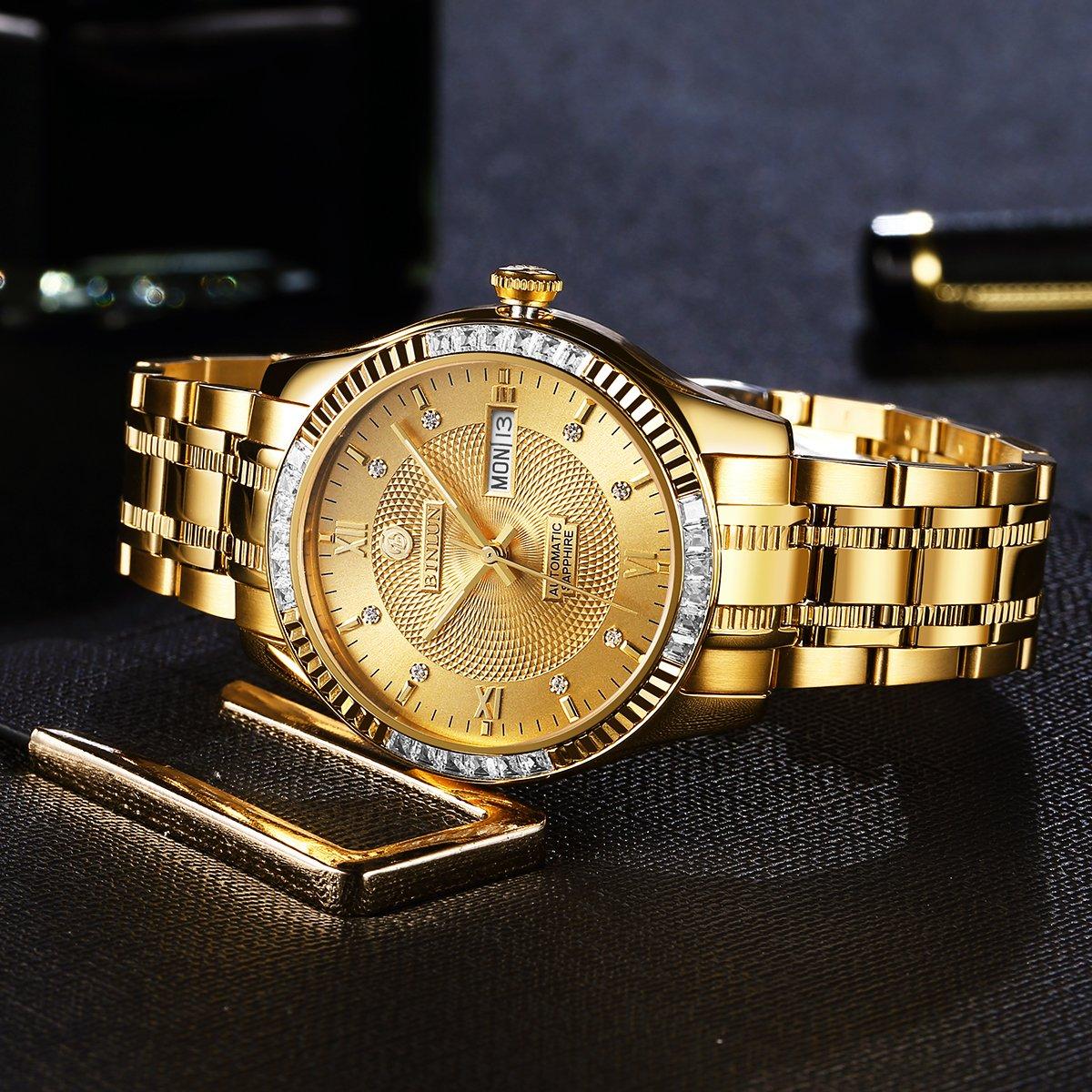 BINLUN 18 K Oro Hombres de Lujo del Reloj japonés automático con Calendario Impermeable Relojes para Hombres: Amazon.es: Relojes