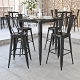 """Flash Furniture Commercial Grade 31.5"""" Square Black Metal Indoor-Outdoor Bar Height Table"""