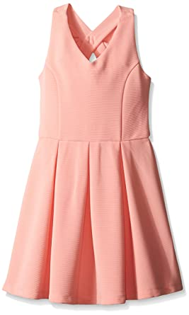 67c3f402797b Zunie Big Girls Sleeveless Textured Knit Skater Dress with Bow Back, Coral,  Small